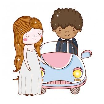 Auto paar huwelijk cute cartoon