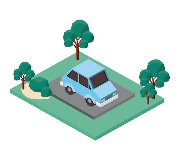 Auto parkeren en bomen scène isometrische pictogram Premium Vector
