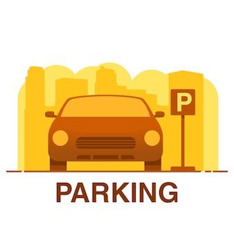 Auto parkeren. stadsstraat. pictogramconcept voor de mobiele toepassing.