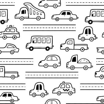 Auto patroon doodle schets stijl