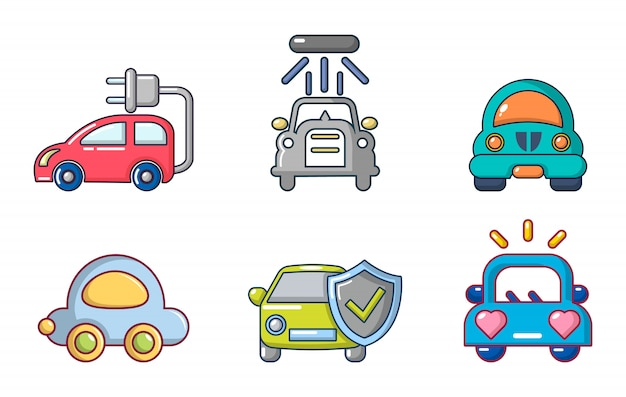 Auto pictogramserie. beeldverhaalreeks auto vectorpictogrammen geplaatst geïsoleerd