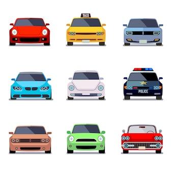 Auto platte vector iconen in vooraanzicht
