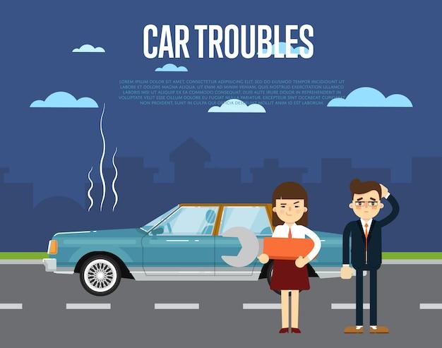 Auto problemen banner met mensen in de buurt van gebroken auto
