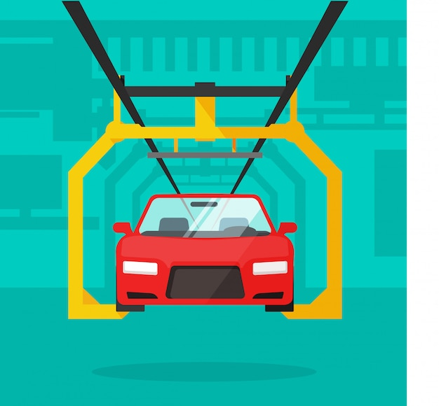 Auto-productielijn of auto productie industriële transportband platte cartoon
