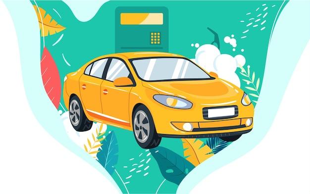 Auto reizen reizen reizen illustratie voertuig tanken auto verzekering veiligheid poster