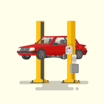 Auto reparatie. auto op autolifts illustratie wordt opgeheven die