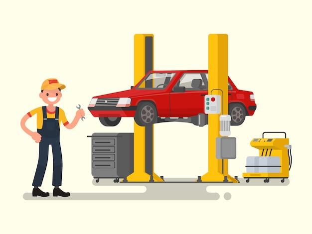 Auto reparatie. de automonteur dichtbij de auto hief op autoliftsillustratie op