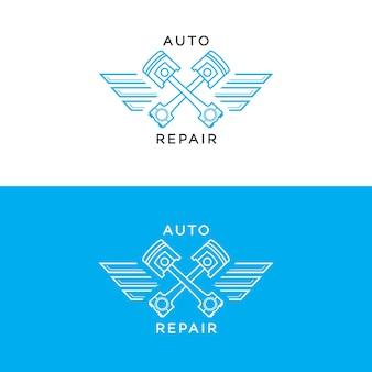 Auto reparatie logo set lijnstijl geïsoleerd op de achtergrond voor auto servicewinkel