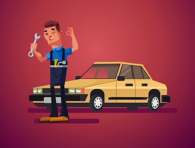 Auto reparatie man karakter illustratie