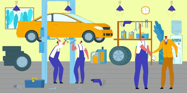 Auto reparatie monteur autoservice met professionele mensen illustratie