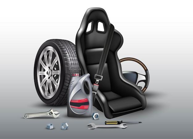 Auto reparatie service achtergrond. realistische vectorillustratie met autostoel, wielen, olie plastic fles.