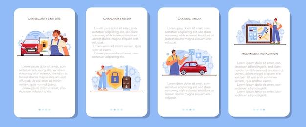 Auto reparatie service mobiele applicatie banner set auto multimedia