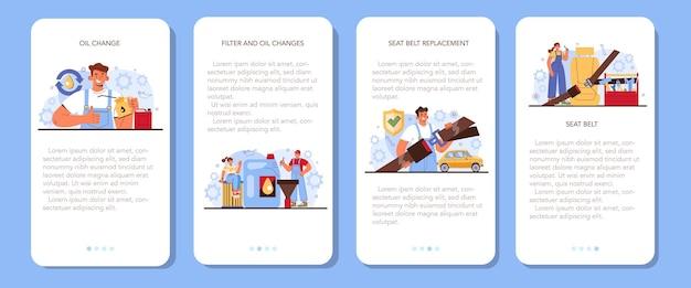 Auto reparatie service mobiele applicatie banner set auto-onderdelen