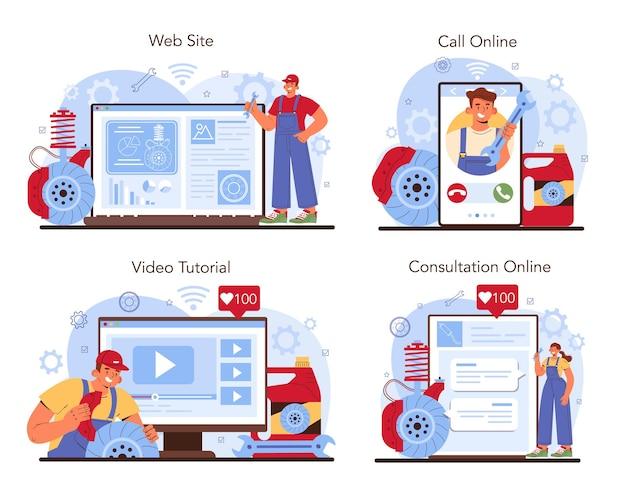 Auto reparatie service online service of platform set. de remblokken van de auto zijn gerepareerd. monteur controleert het remsysteem van een voertuig. online consultatie, oproep, videozelfstudie, website. vector illustratie