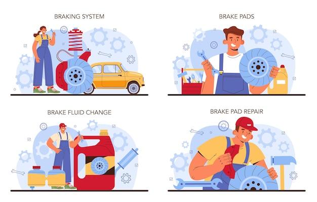 Auto reparatie service set. de remblokken van de auto zijn gerepareerd in de autowerkplaats. monteur in uniform controleert het remsysteem van een voertuig en repareert het. auto volledige diagnostiek. platte vectorillustratie.