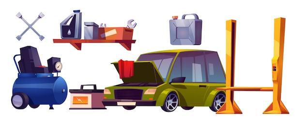 Auto reparatie service spullen en auto vector set