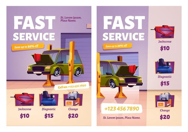 Auto reparatie snelle service cartoon promotionele posters. mechanische garage met auto en spullen voor auto-onderhoud.