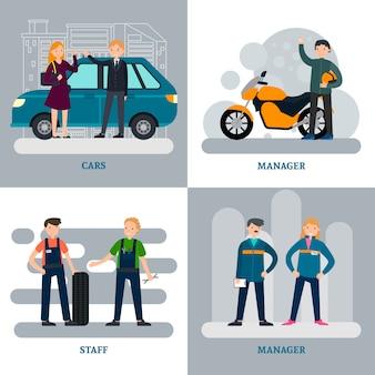 Auto reparatie vierkante concept
