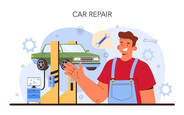 Auto reparatieservice. auto is gerepareerd in de autowerkplaats. monteur in uniform controleert een voertuig en repareert het. auto volledige diagnostiek. platte vectorillustratie.