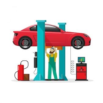 Auto reparatiewerkplaats station, reparateur, auto diagnostische hulpmiddelen, mechanische werkplaats