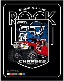Auto rijden op de rots vector auto illustratie ontwerp afbeelding voor afdrukken