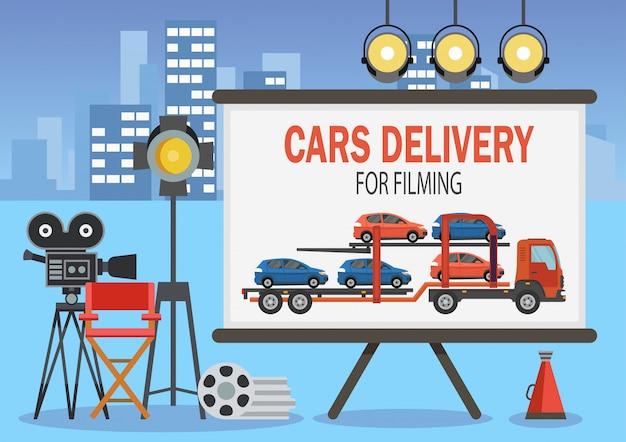 Auto's bezorgen voor filmen. vector illustratie.