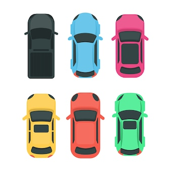 Auto's bovenaanzicht. kleurrijke verschillende voertuigen op wit.