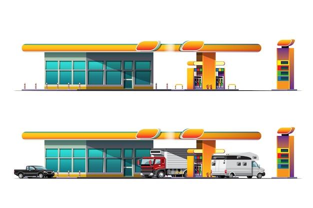Auto's en bestelwagens parkeren om te tanken bij tankstation