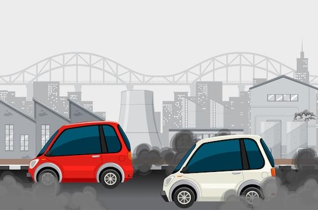 Auto's en fabriek in grote stad die vuile rook maken