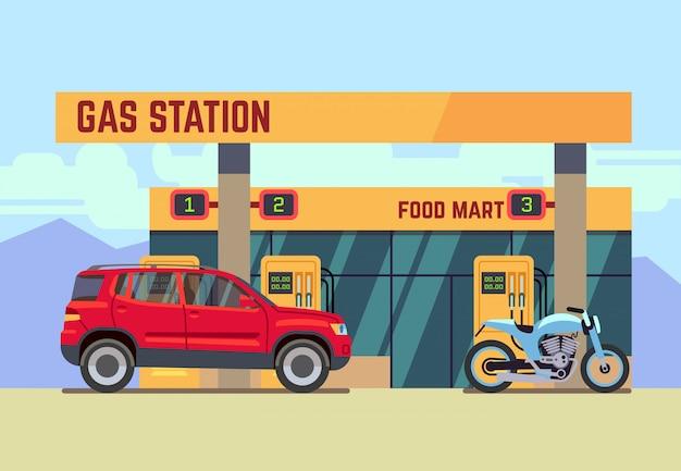 Auto's en motorfietsen bij gas tankstation in vlakke stijl