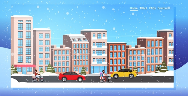 Auto's en scooters rijden asfaltweg besneeuwde stad straat winter stadsgebouwen stadsgezicht sneeuwval