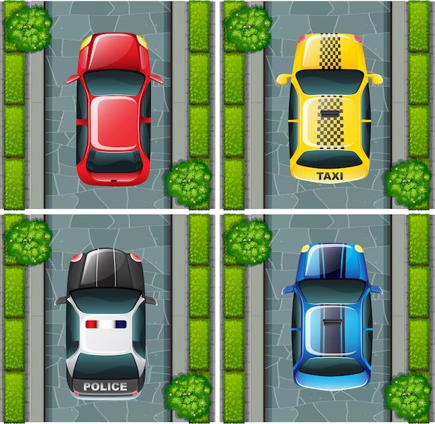Auto's geparkeerd op de weg