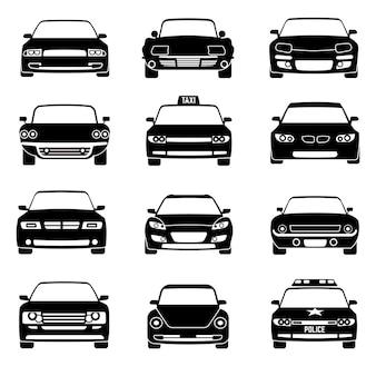 Auto's in vooraanzicht zwarte vectorpictogrammen