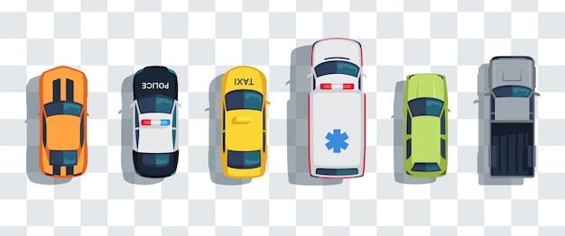 Auto's ingesteld van bovenaf, bovenaanzicht geïsoleerd. leuke mooie cartoon vervoer met schaduwen.