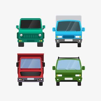 Auto's instellen vooraanzicht persoonlijk en levering transport illustratie