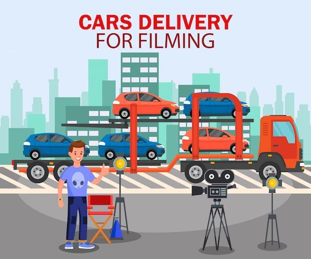 Auto's levering voor het filmen van platte sjabloon voor spandoek