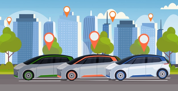 Auto's met locatie pin op weg online bestellen taxi auto delen concept mobiel vervoer carsharing service moderne stad straat stadsgezicht achtergrond vlak en horizontaal