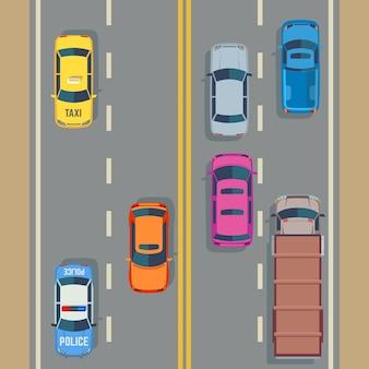 Auto's naadloos vectorverkeer als achtergrond en weg
