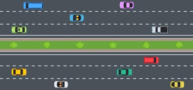 Auto's op de weg, bovenaanzicht.