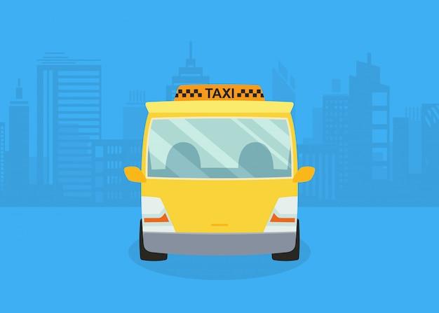 Auto's op het panorama van de stad. taxi service. gele taxi.