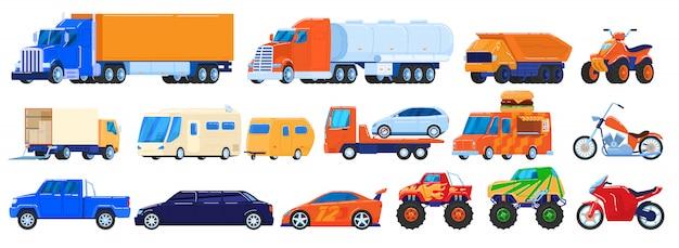 Auto's op wit, geplaatste vrachtwagens en industriële voertuigen, motorfiets en kampeerauto, illustratie