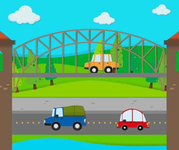 Auto's rijden op de weg