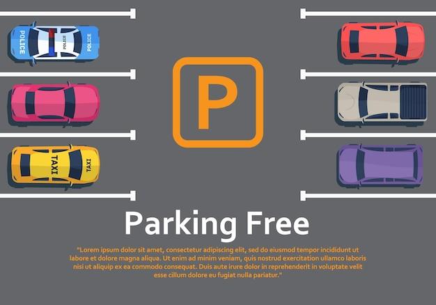 Auto's staan van bovenaf op de parkeerplaats