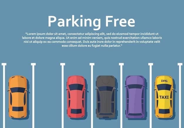 Auto's staan van bovenaf op parkeerplaatszicht.