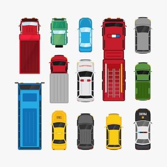 Auto's transport set bovenaanzicht platte voertuig illustratie