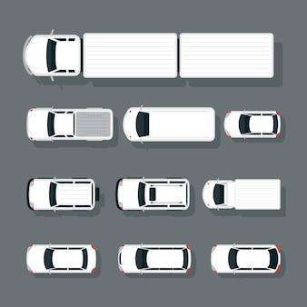 Auto's verschillende typen boven- of bovenaanzichtset