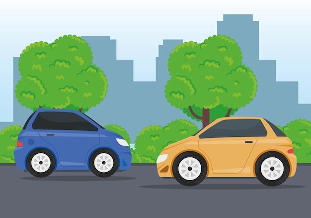 Auto's voertuigen die reizen in het wegontwerp