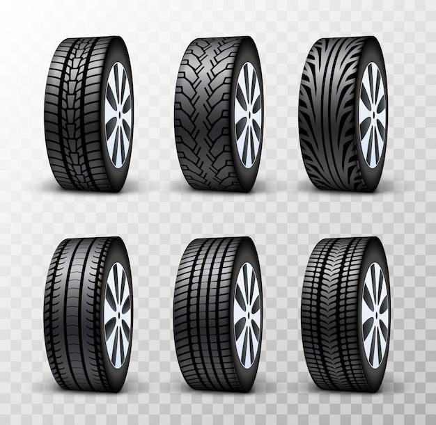 Auto schijf wielset. band wiel vector service geïsoleerde illustratie. ontwerpset voor voertuigbanden.