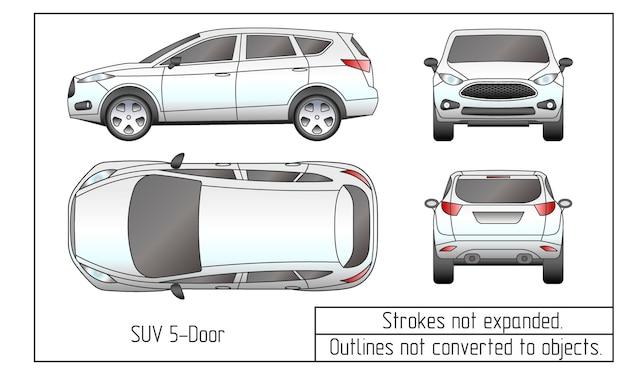 Auto sedan en suv tekening contouren niet omgezet in objecten