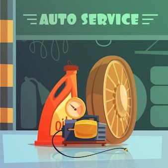 Auto service apparatuur cartoon achtergrond
